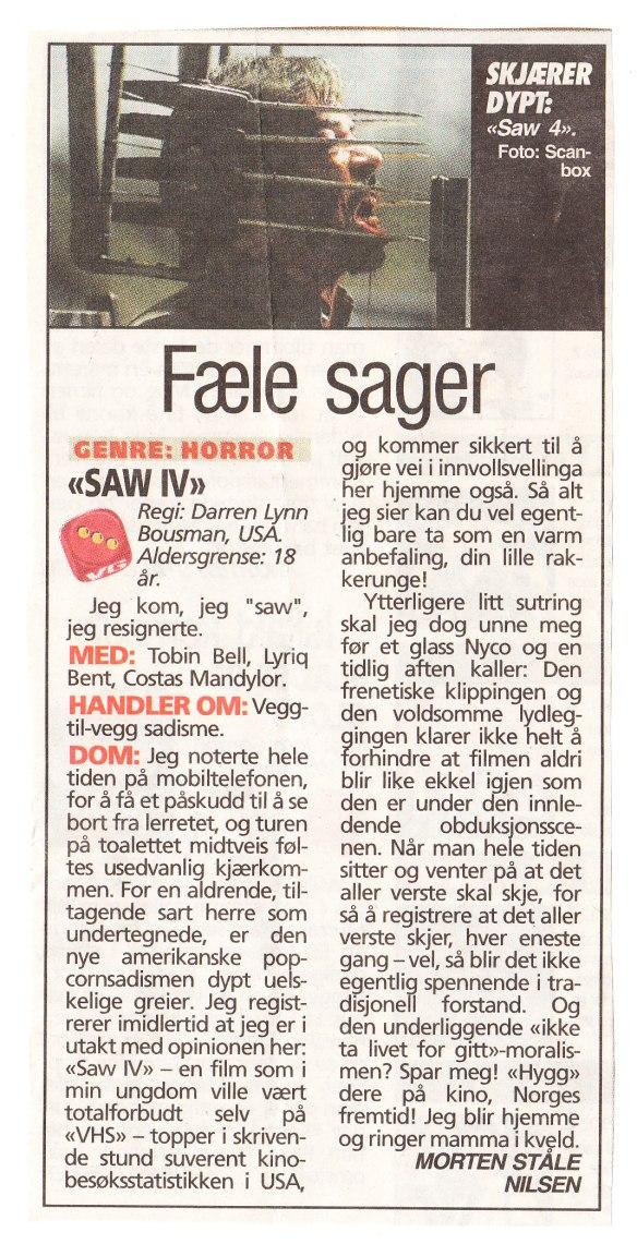 Filmanmeldelse av Saw IV av Morten Ståle Nilsen, VG.
